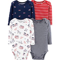 Baby Boy Carter's 4-pack Striped & Fire Truck Bodysuits