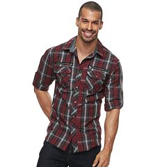 Men's Rock & Republic Plaid Roll-Sleeve Button-Down Shirt