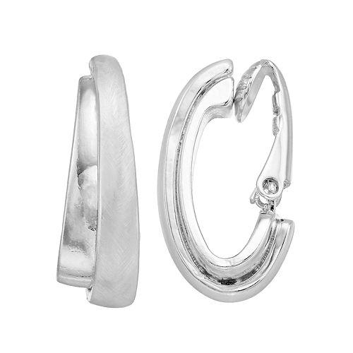 Dana Buchman Silver Tone J Hoop Clip On Earrings