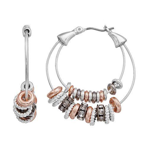 Dana Buchman Tri Tone Ring Hoop Earrings