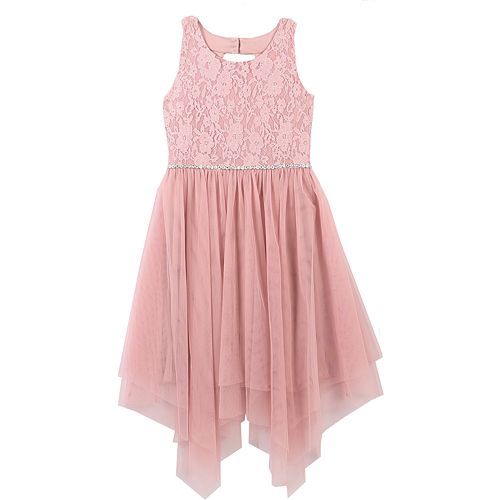 Girls 7-16 & Plus Size Speechless Lace & Tulle Sharkbite Dress