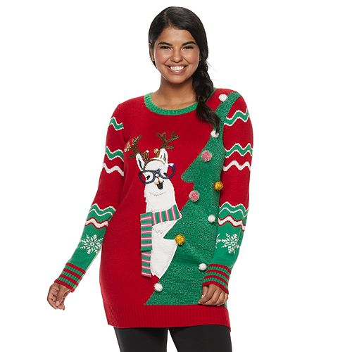 Llama Christmas Sweater.Juniors Plus Size It S Our Time Llama Tree Tunic Christmas