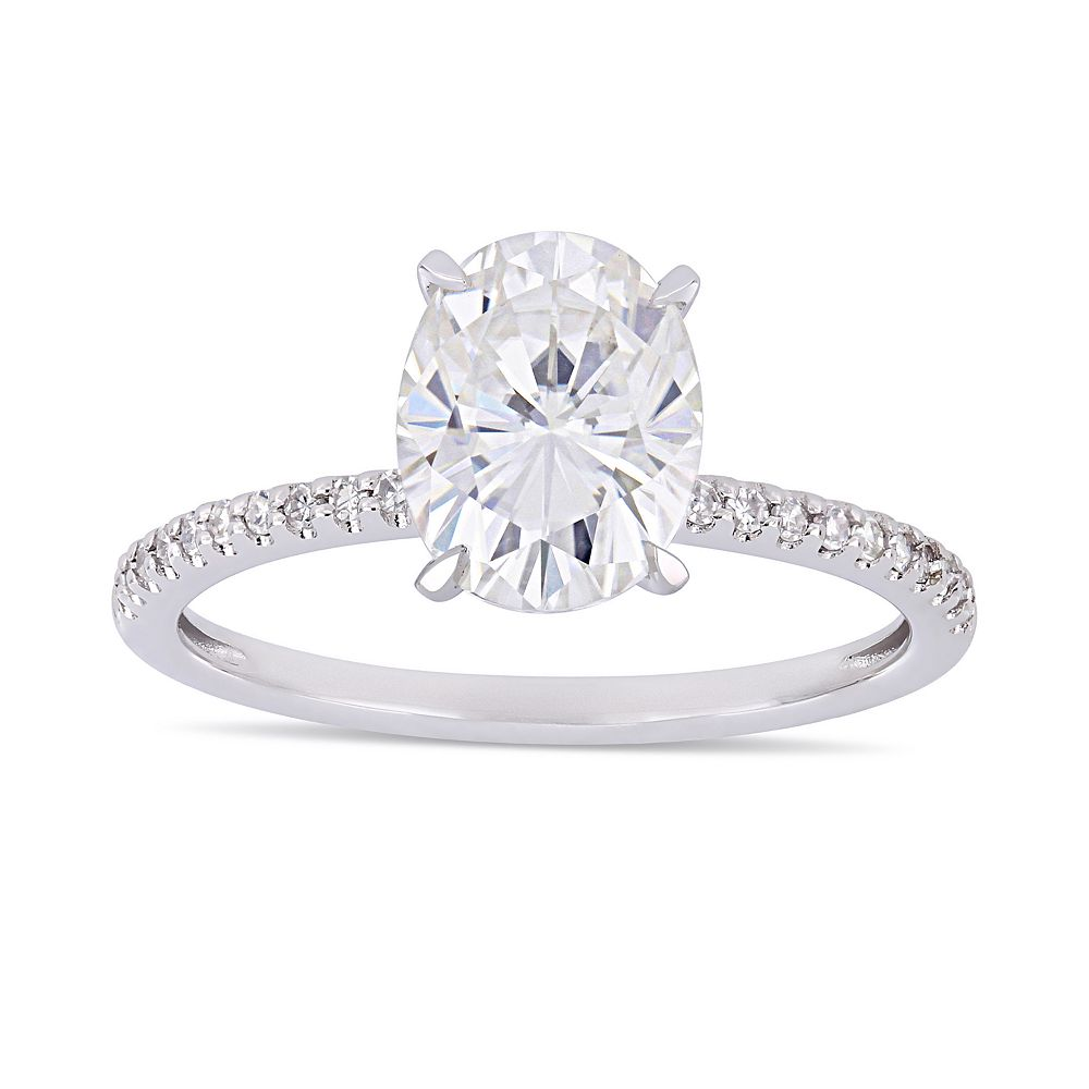 Stella Grace 2 ct. T.W. Oval Cut Lab-Created Moissanite & 1/10 ct. T.W. Diamond Engagement Ring