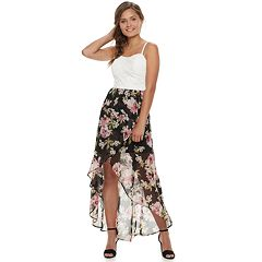 Juniors' Lily Rose High-Low Floral Maxi Dress