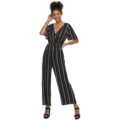 Juniors' Speechless Flutter Sleeve Striped Jumpsuit