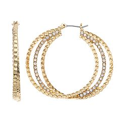 Dana Buchman Simulated Crystal Textured Triple Hoop Earrings