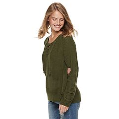Juniors' It's Our Time Lace-Up Sweater