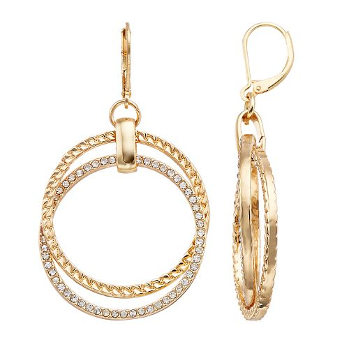 Dana Buchman Simulated Crystal Double Hoop Drop Earrings