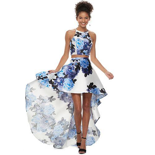 4b9ea76403da Juniors' Speechless 2-Piece Floral High-Low Mikado Dress