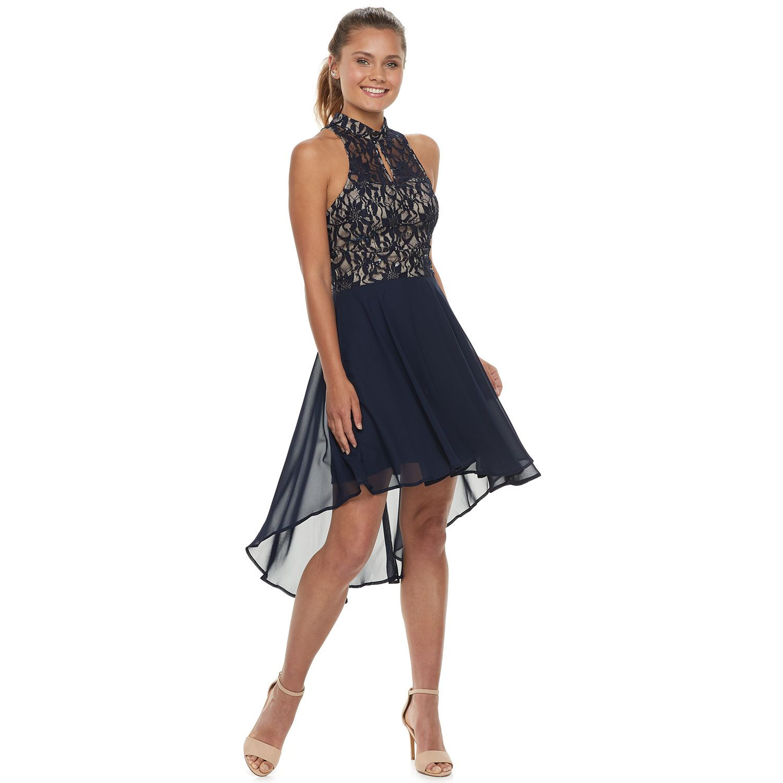 Juniors' Speechless Lace Halter Dress