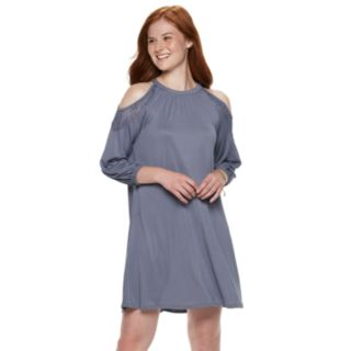 Juniors' Mudd® Cupro Cold-Shoulder Dress