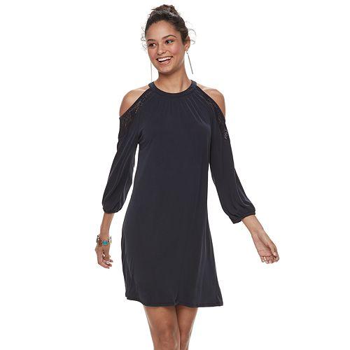 15a7a61542 Juniors  Mudd® Cupro Cold-Shoulder Dress
