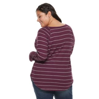 Juniors' Plus Size SO® Thermal Henley Top