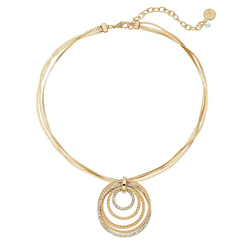 Dana Buchman Simulated Crystal Stone Hoop Pendant Necklace
