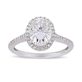 Stella Grace 2 ct. T.W. Oval Cut Lab-Created Moissanite & 1/4 ct. T.W. Diamond Engagement Ring