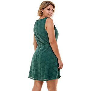 Juniors' Plus Size Lily Rose Lace Skater Dress