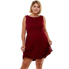 Juniors' Plus Size Lily Rose Lace Skater Dress