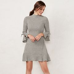 Petite LC Lauren Conrad Mockneck Flounce-Hem Sweater Dress