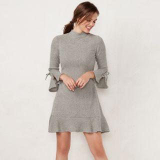 Petite LC Lauren Conrad Mockneck Flounce-Hem Sweater Dress