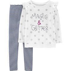 Girls 4-14 Carter's 'Magic & Glitter' Polka-Dot Sweatshirt & Striped Leggings Set