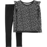 Girls 4-14 Carter's Cheetah Ruffled Sweatshirt & Leggings Set