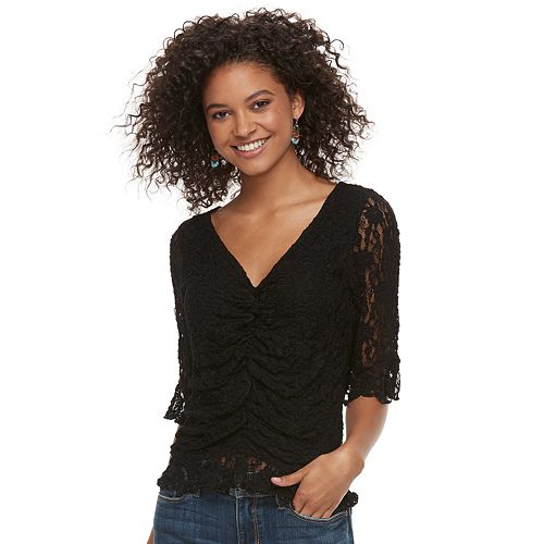 Juniors' American Rag Ruched Lace Top