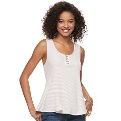 Juniors' American Rag Striped Ribbed Tank