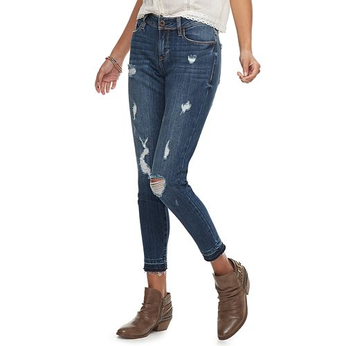 Juniors' American Rag Mid-Rise Destructed Ankle Skinny Jeans