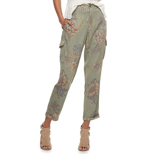 Juniors' American Rag Low-Rise Floral Utility Cargo Soft Pants