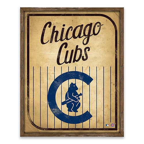 Chicago Cubs Vintage Card Wood Wall Decor