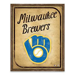 Milwaukee Brewers Vintage Card Wood Wall Decor