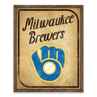 Milwaukee Brewers Vintage Card Wood Wall Decor