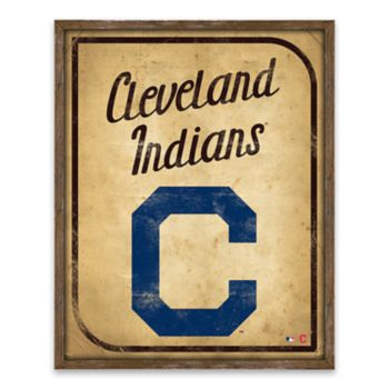 Cleveland Indians Vintage Card Wood Wall Decor