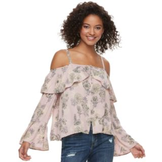 Juniors' American Rag Floral Cold-Shoulder Top