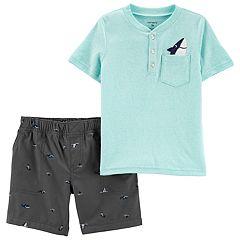 8f9ffeebc30 Baby Boy Carter s Pocket Shark Henley Top   Shorts Set