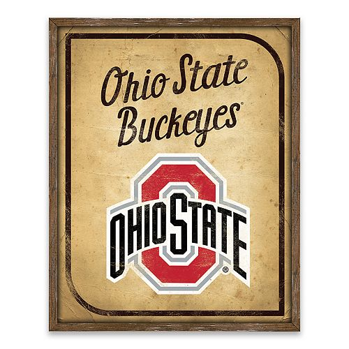 Ohio State Buckeyes Vintage Card Wood Wall Decor