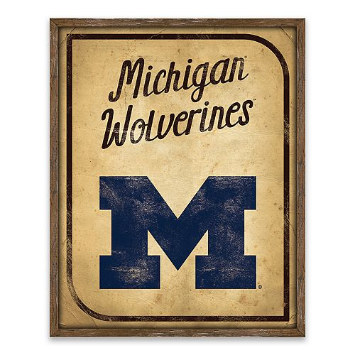 Michigan Wolverines Vintage Card Wood Wall Decor