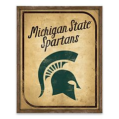 Michigan State Spartans Vintage Card Wood Wall Decor