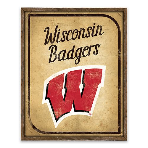 Wisconsin Badgers Vintage Card Wood Wall Decor