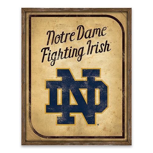Notre Dame Fighting Irish Vintage Card Wood Wall Decor