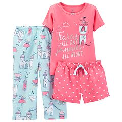 Toddler Girl Carter's Princess Tiara Top, Shorts & Pants Pajama Set