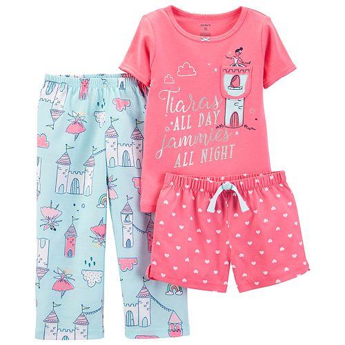 Toddler Girl Carter's Princess Tiara Top, Shorts & Pants Pajama Set