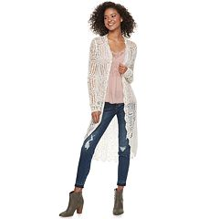 Juniors' American Rag Crochet Duster Cardigan