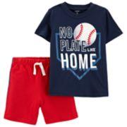 "Baby Boy Carter's ""No Plate Like Home"" Baseball Graphic Tee & Shorts Set"