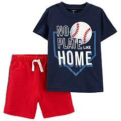 Baby Boy Carter's 'No Plate Like Home' Baseball Graphic Tee & Shorts Set