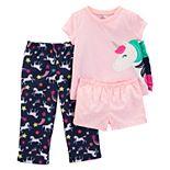 Toddler Girl Carter's Unicorn Top, Shorts & Pants Pajama Set