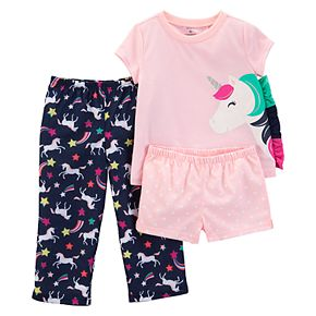 Toddler Girl Carter's Unicorn Top, Shorts & Pants Pajama Set