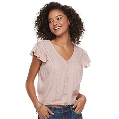 Juniors' American Rag Lace Button Front Top