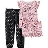 Toddler Girl Carter's Dog Print Top, Shorts & Pants Pajama Set