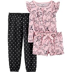 Toddler Girl Carter's Dog Print Top, Shorts & Pants Pajama Set